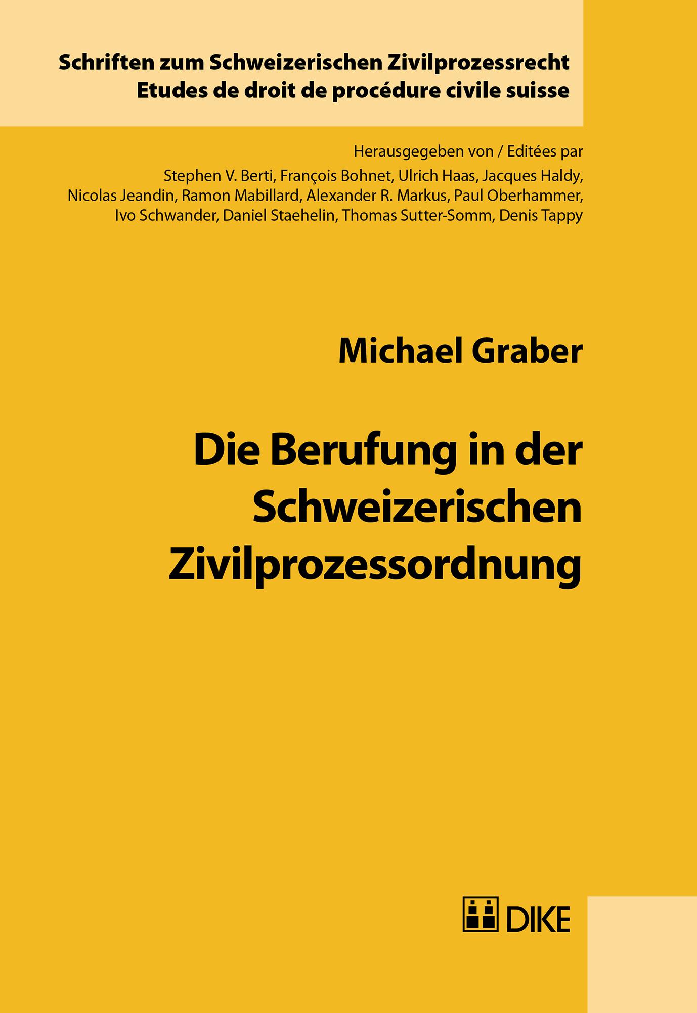 Die Berufung in der Schweizerischen Zivilprozessordnung