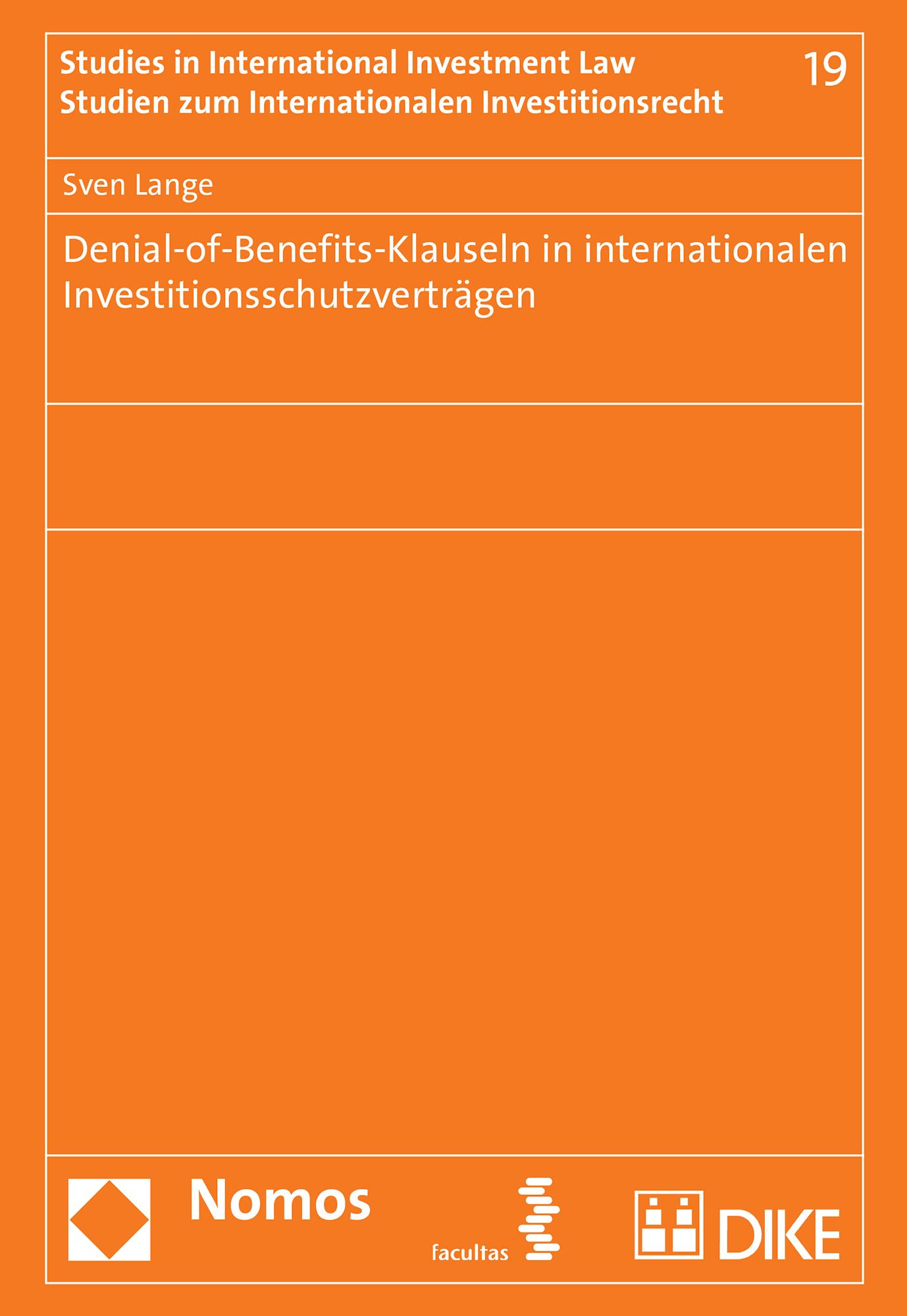Denial-of-Benefits-Klauseln in internationalen Investitionsschutzverträgen
