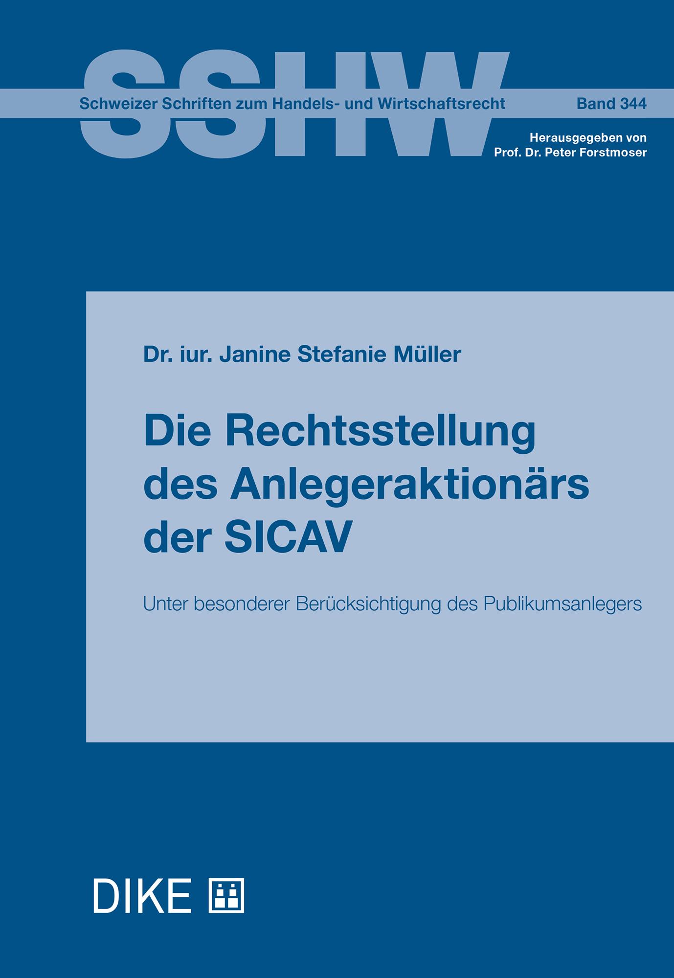 Die Rechtsstellung des Anlegeraktionärs der SICAV