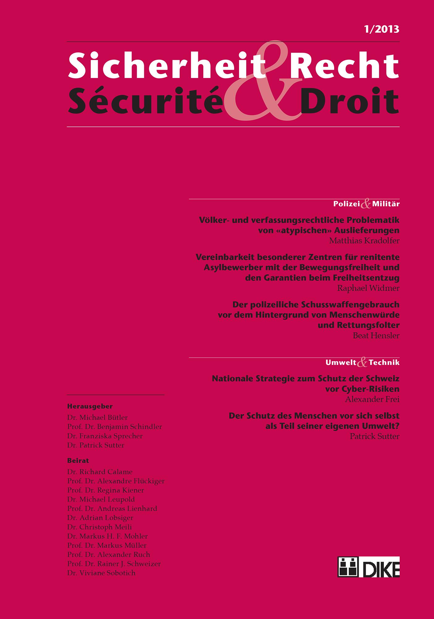 Sicherheit & Recht / Sécurité & Droit 01/2013