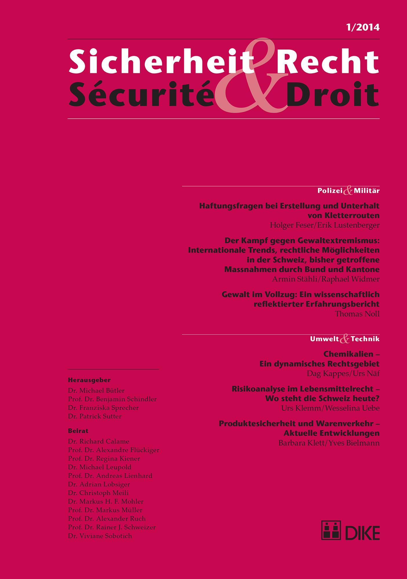 Sicherheit & Recht / Sécurité & Droit 01/2014