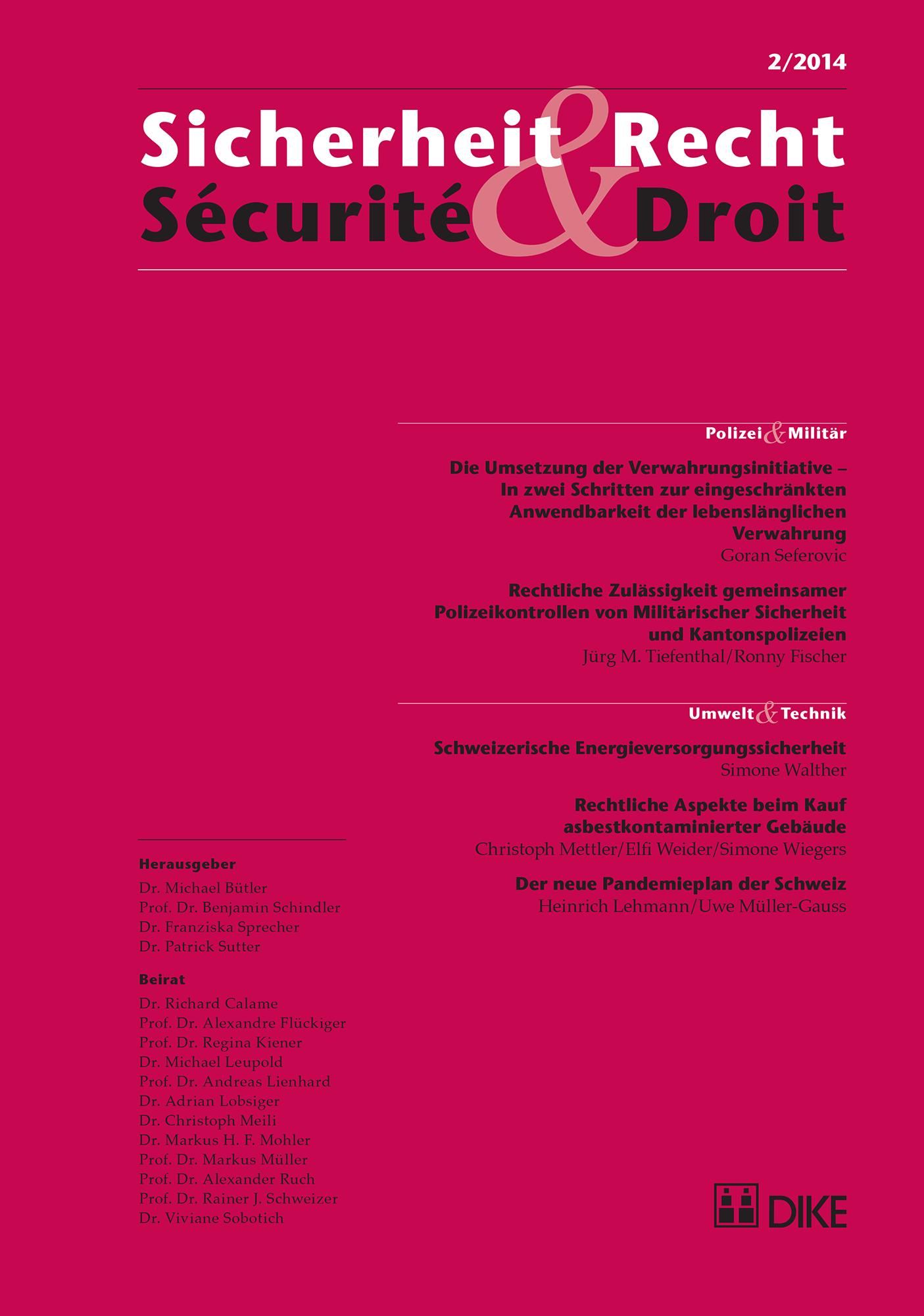 Sicherheit & Recht / Sécurité & Droit 02/2014