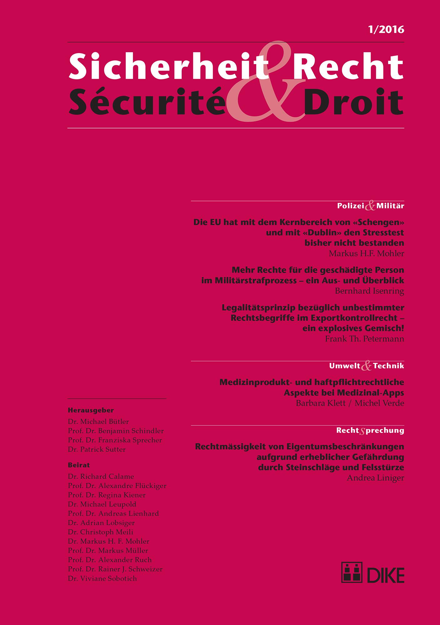 Sicherheit & Recht / Sécurité & Droit 01/2016
