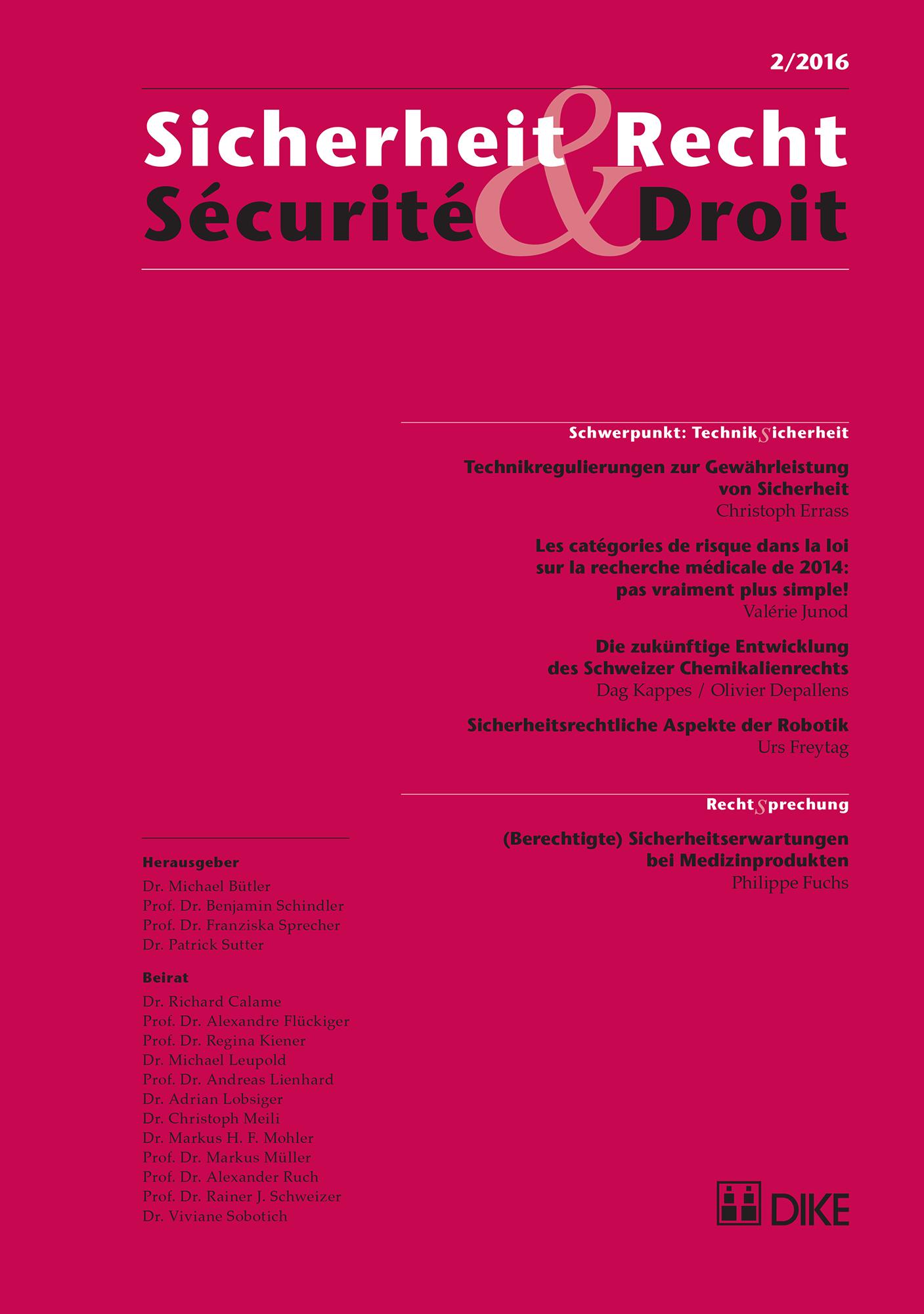Sicherheit & Recht / Sécurité & Droit 02/2016