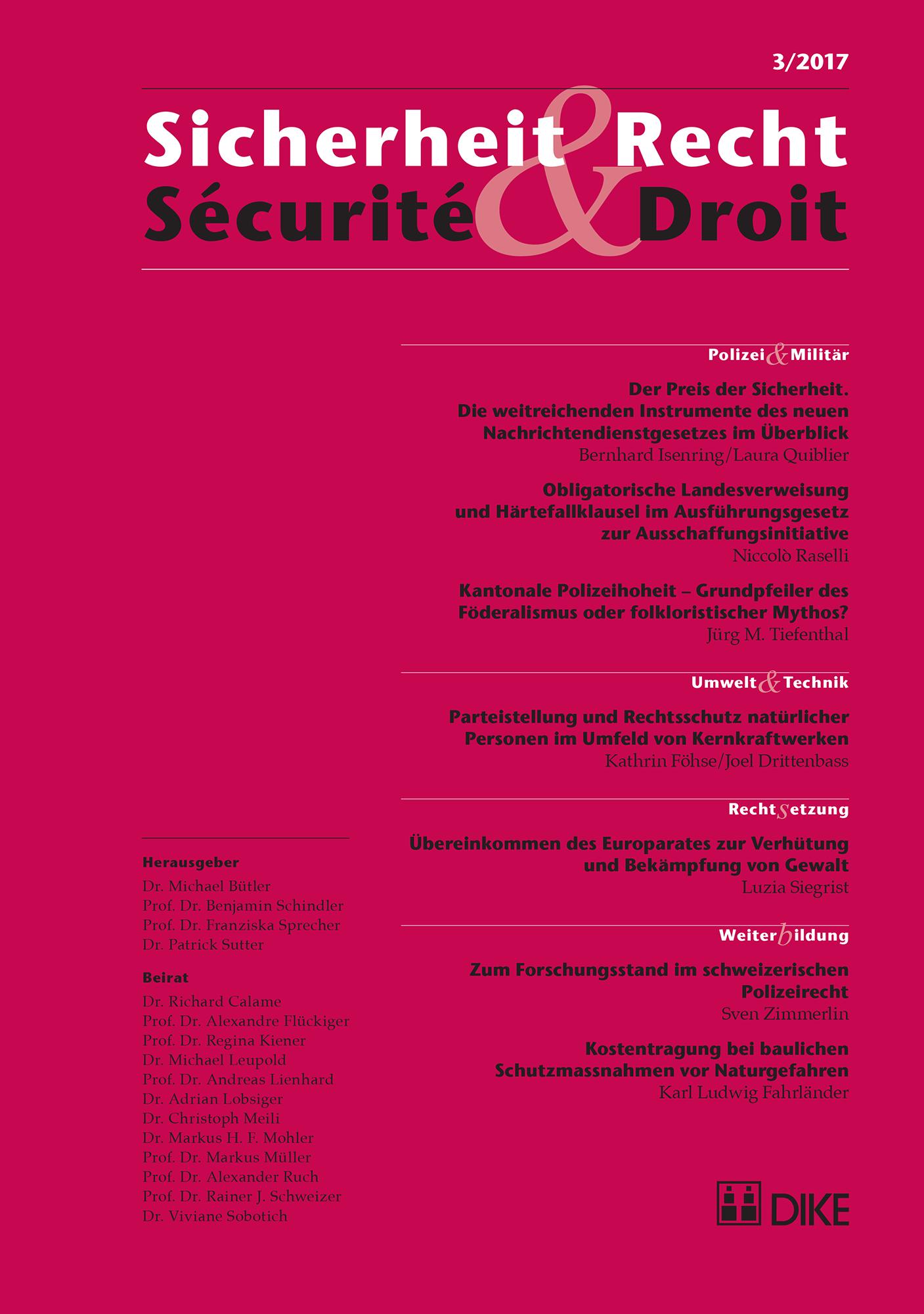 Sicherheit & Recht / Sécurité & Droit 03/2017