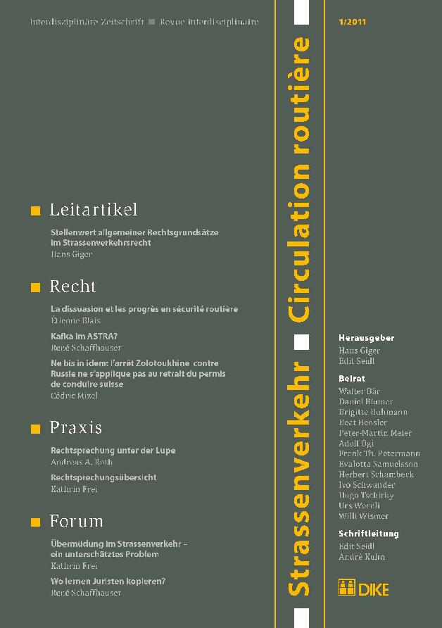 Strassenverkehr / Circulation routière 1/2011