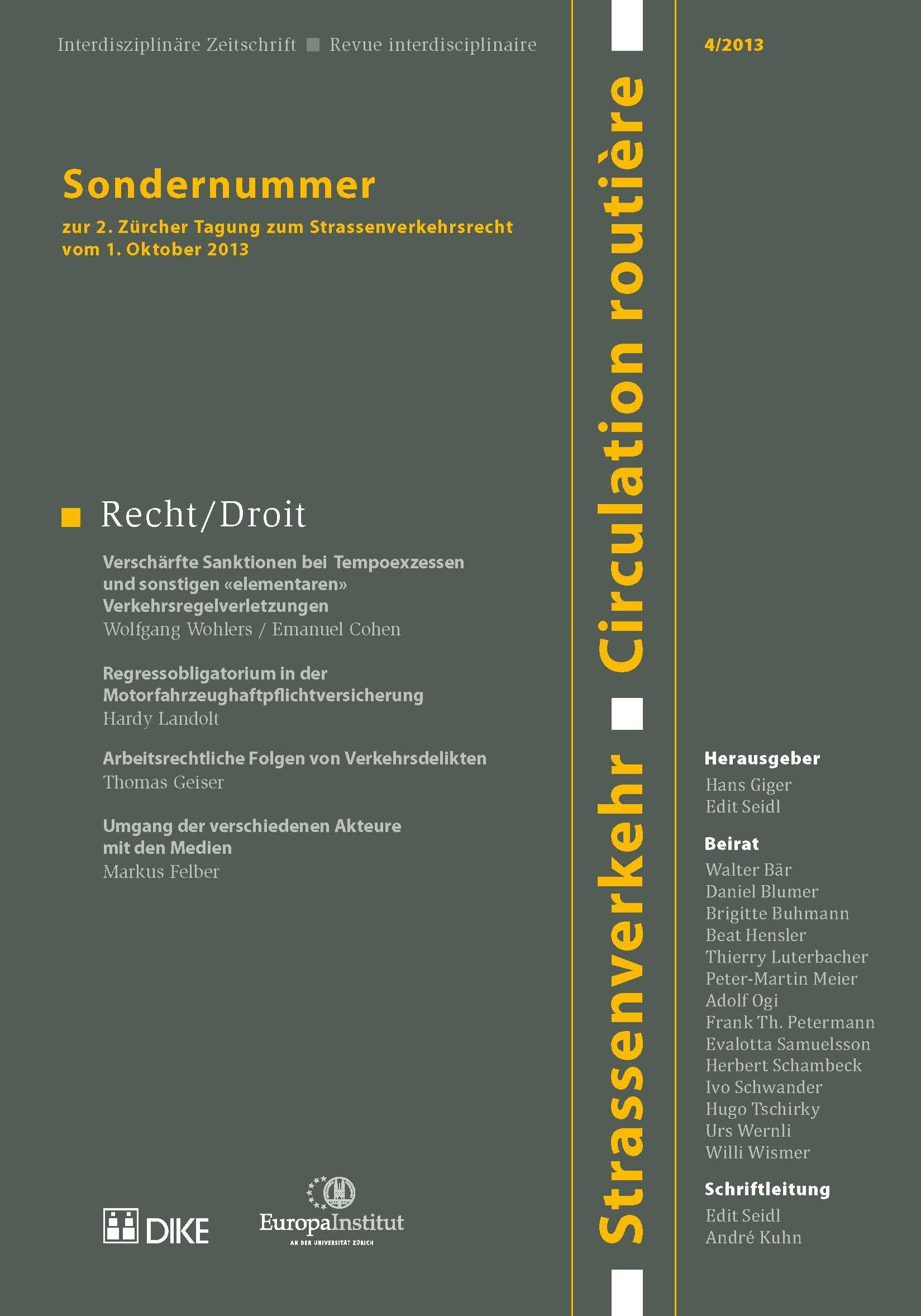 Strassenverkehr / Circulation routière 4/2013