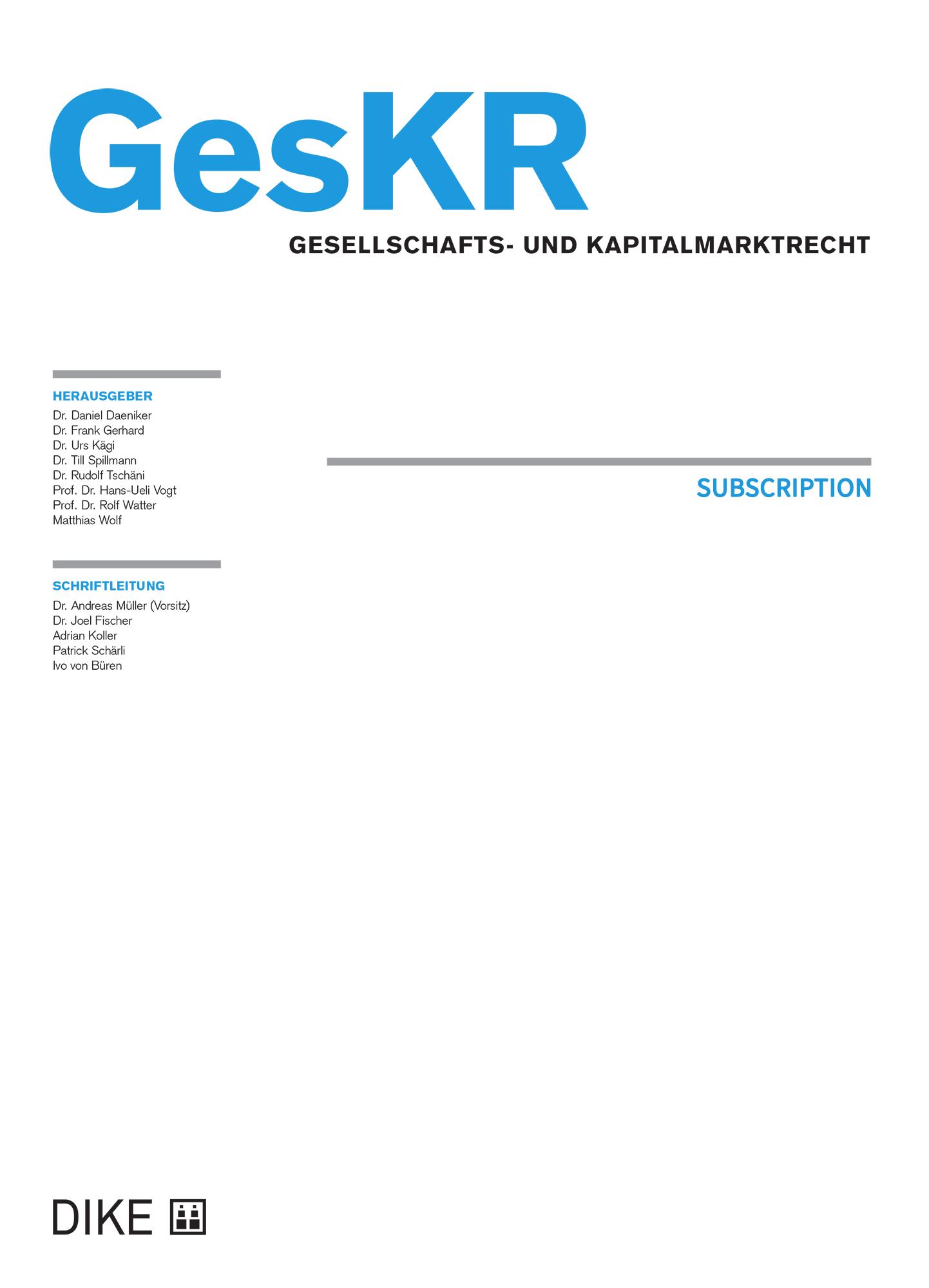 GesKR Abonnement für ZAV- und AKBS/AVBL-Mitglieder