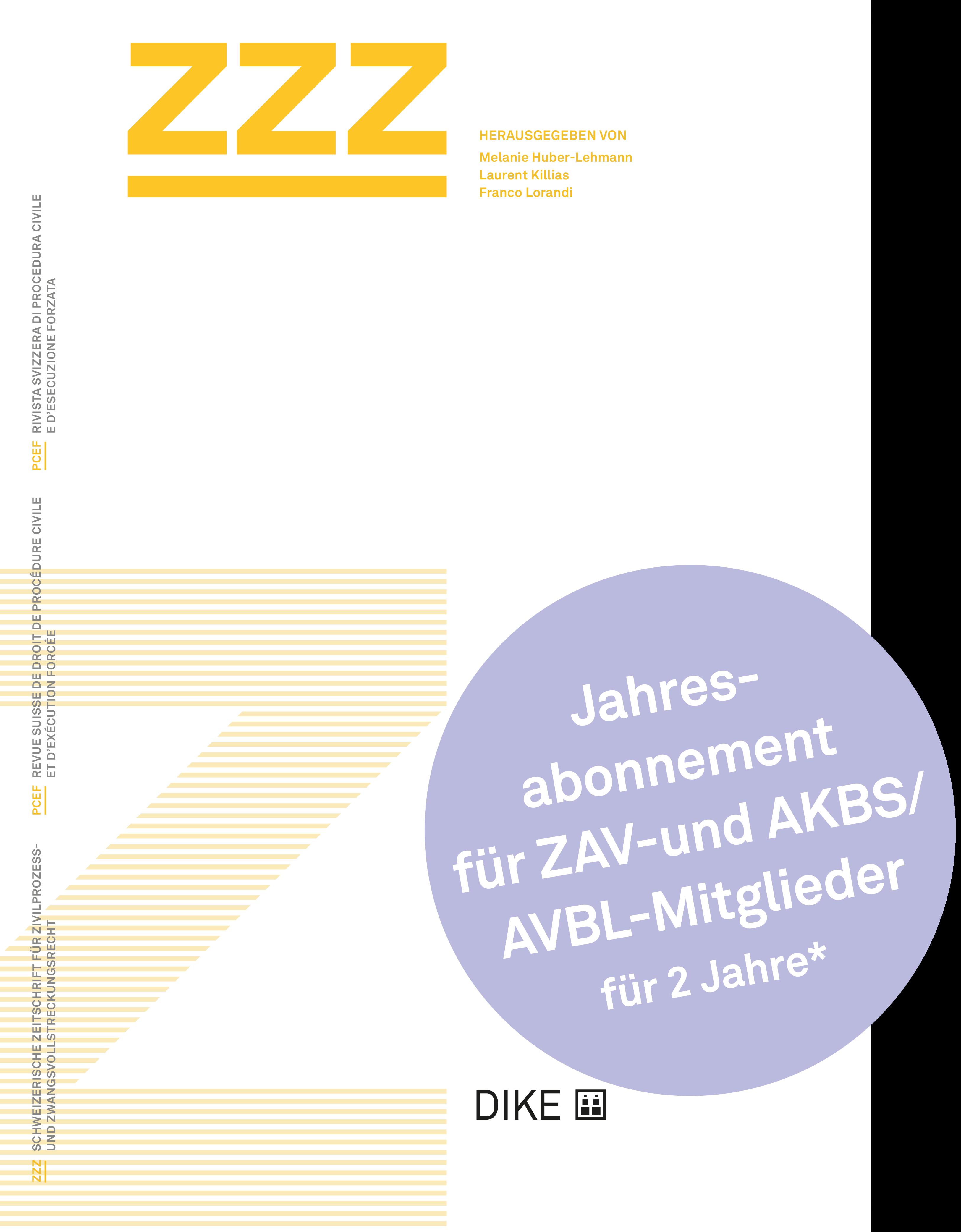 ZZZ Abonnement für ZAV- und AKBS/AVBL-Mitglieder
