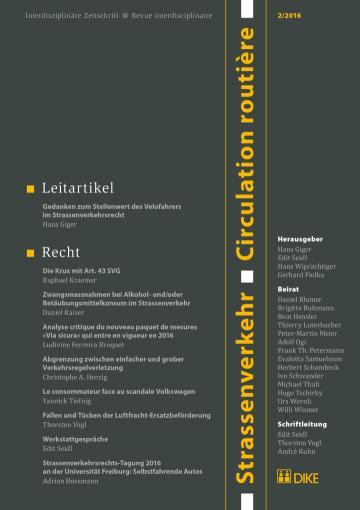 Strassenverkehr / Circulation routière 2/2016