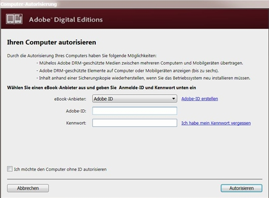 Adobe Digital Editions autorisieren